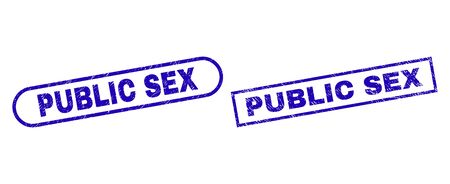 Blue rectangle and rounded PUBLIC SEX seal stamp. Flat vector grunge stamps with PUBLIC SEX text inside rectangle frame and rounded rectangle frames. Imprint with unclean surface, Çizim