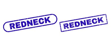 Blue rectangle and rounded REDNECK watermark. Flat vector scratched watermarks with REDNECK message inside rectangle frame and rounded rectangle frames. Watermark with corroded surface, Çizim