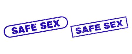 Blue rectangle and rounded SAFE SEX seal stamp. Flat vector distress seal stamps with SAFE SEX text inside rectangle frame and rounded rectangle frames. Rubber imitation with distress texture,