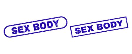 Blue rectangle and rounded SEX BODY seal stamp. Flat vector distress seal stamps with SEX BODY phrase inside rectangle frame and rounded rectangle frames. Watermark with corroded style, Çizim