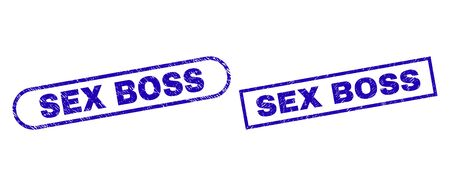 Blue rectangle and rounded SEX BOSS seal. Flat vector grunge seals with SEX BOSS text inside rectangle frame and rounded rectangle frames. Watermark with grunge style, on a white background.