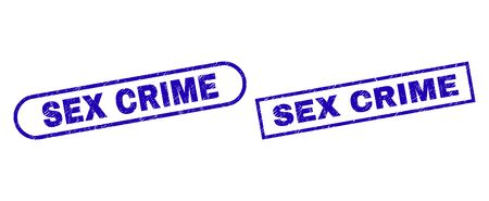 Blue rectangle and rounded SEX CRIME seal. Flat vector distress seal stamps with SEX CRIME caption inside rectangle frame and rounded rectangle frames. Watermark with grunged texture, Çizim