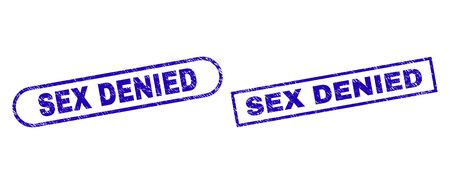 Blue rectangle and rounded SEX DENIED seal stamp. Flat vector distress seal stamps with SEX DENIED title inside rectangle frame and rounded rectangle frames. Rubber imitation with corroded texture,
