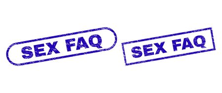 Blue rectangle and rounded SEX FAQ seal. Flat vector scratched seals with SEX FAQ text inside rectangle frame and rounded rectangle frames. Rubber imitation with scratched texture,