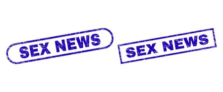 Blue rectangle and rounded SEX NEWS stamp. Flat vector grunge seal stamps with SEX NEWS title inside rectangle frame and rounded rectangle frames. Imprint with grunge texture, on a white background. Çizim