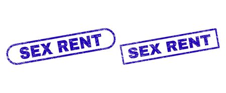 Blue rectangle and rounded SEX RENT seal stamp. Flat vector grunge seal stamps with SEX RENT text inside rectangle frame and rounded rectangle frames. Watermark with unclean texture,