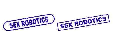Blue rectangle and rounded SEX ROBOTICS watermark. Flat vector distress seals with SEX ROBOTICS phrase inside rectangle frame and rounded rectangle frames. Watermark with grunge style,