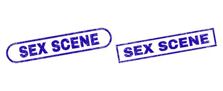 Blue rectangle and rounded SEX SCENE seal stamp. Flat vector textured seal stamps with SEX SCENE phrase inside rectangle frame and rounded rectangle frames. Watermark with unclean surface,