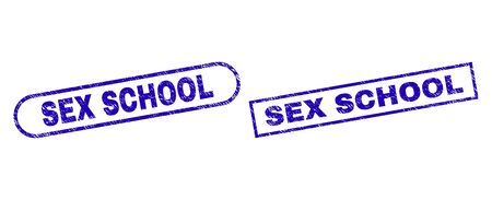 Blue rectangle and rounded SEX SCHOOL watermark. Flat vector distress seal stamps with SEX SCHOOL caption inside rectangle frame and rounded rectangle frames. Watermark with corroded style,