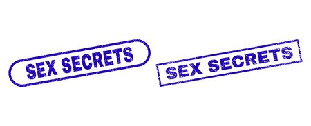 Blue rectangle and rounded SEX SECRETS seal. Flat vector grunge seal stamps with SEX SECRETS phrase inside rectangle frame and rounded rectangle frames. Imprint with grunge surface,