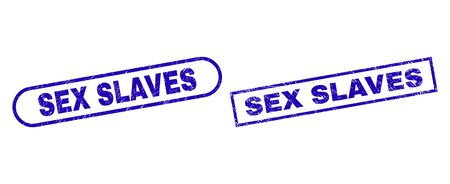 Blue rectangle and rounded SEX SLAVES seal stamp. Flat vector scratched seal stamps with SEX SLAVES message inside rectangle frame and rounded rectangle frames. Imprint with grunged texture,