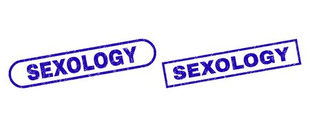 Blue rectangle and rounded SEXOLOGY seal stamp. Flat vector scratched seal stamps with SEXOLOGY caption inside rectangle frame and rounded rectangle frames. Imprint with grunge texture,