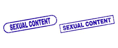 Blue rectangle and rounded SEXUAL CONTENT watermark. Flat vector distress stamps with SEXUAL CONTENT title inside rectangle frame and rounded rectangle frames. Watermark with distress surface, Çizim