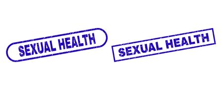 Blue rectangle and rounded SEXUAL HEALTH seal stamp. Flat vector grunge seal stamps with SEXUAL HEALTH caption inside rectangle frame and rounded rectangle frames. Çizim