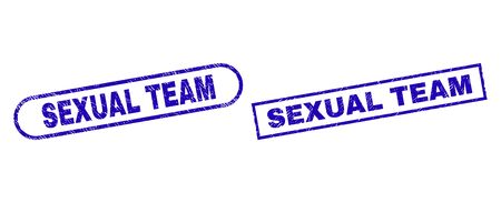 Blue rectangle and rounded SEXUAL TEAM seal stamp. Flat vector distress seal stamps with SEXUAL TEAM phrase inside rectangle frame and rounded rectangle frames. Watermark with distress surface, Çizim