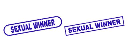 Blue rectangle and rounded SEXUAL WINNER seal. Flat vector grunge seal stamps with SEXUAL WINNER message inside rectangle frame and rounded rectangle frames. Imprint with grunged texture,