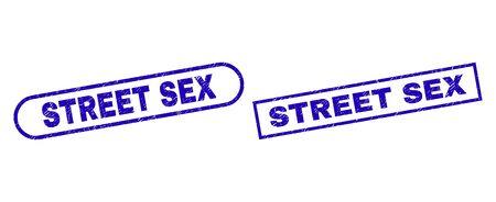 Blaues Rechteck und abgerundeter Siegelstempel STREET SEX. Flache Vektor-Notsiegelstempel mit STREET SEX-Titel im Rechteckrahmen und abgerundeten Rechteckrahmen. Wasserzeichen mit Distress-Stil,