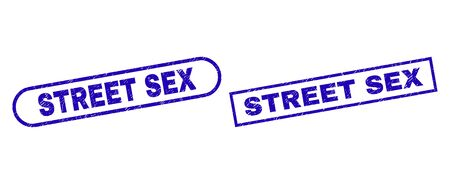 Blue rectangle and rounded STREET SEX seal stamp. Flat vector distress seal stamps with STREET SEX title inside rectangle frame and rounded rectangle frames. Watermark with distress style,