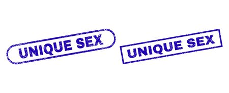 Blue rectangle and rounded UNIQUE SEX seal. Flat vector distress seal stamps with UNIQUE SEX message inside rectangle frame and rounded rectangle frames. Rubber imitation with unclean style,