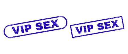 Blue rectangle and rounded VIP SEX seal. Flat vector grunge stamps with VIP SEX phrase inside rectangle frame and rounded rectangle frames. Rubber imitation with grunge style, on a white background.