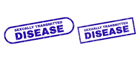 Blue rectangle and rounded SEXUALLY TRANSMITTED DISEASE watermark. Flat vector scratched seal stamps with SEXUALLY TRANSMITTED DISEASE text inside rectangle frame and rounded rectangle frames.