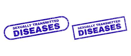 Blue rectangle and rounded SEXUALLY TRANSMITTED DISEASES seal stamp. Flat vector scratched seal stamps with SEXUALLY TRANSMITTED DISEASES caption inside rectangle frame and rounded rectangle frames. Ilustrace