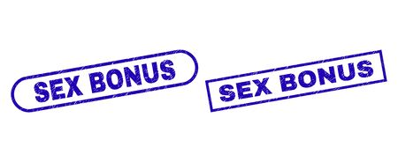 Blue rectangle and rounded SEX BONUS seal stamp. Flat vector distress seals with SEX BONUS message inside rectangle frame and rounded rectangle frames. Rubber imitation with distress surface,