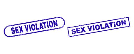 Blue rectangle and rounded SEX VIOLATION seal stamp. Flat vector scratched seal stamps with SEX VIOLATION caption inside rectangle frame and rounded rectangle frames. Imprint with scratched style,
