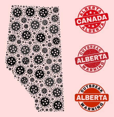 Outbreak composition of virus mosaic Alberta Province map and rubber stamps. Vector red imprints with unclean rubber texture and Outbreak Warning caption.