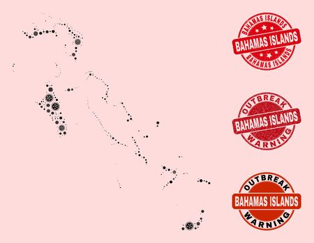 Outbreak composition of virus mosaic Bahamas Islands map and textured seal stamps. Vector red imprints with corroded rubber texture and Outbreak Warning caption.