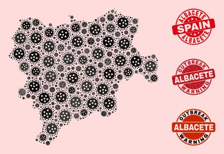 Outbreak composition of flu viral mosaic Albacete Province map and rubber seals. Vector red seals with grunge rubber texture and Outbreak Warning caption.