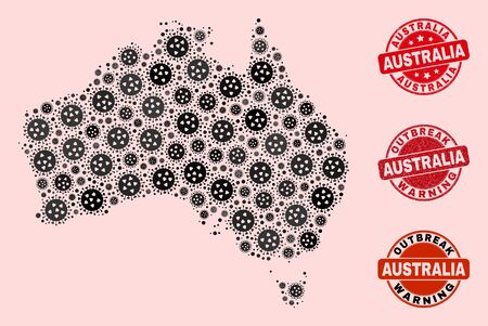 Outbreak collage of flu viral mosaic Australia map and dirty seal stamps. Vector red seals with grunge rubber texture and Outbreak Warning caption. Mosaic Australia map designed with flu virus,