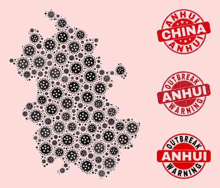 Outbreak combination of virus mosaic Anhui Province map and rubber seals. Vector red seals with corroded rubber texture and Outbreak Warning caption. Mosaic Anhui Province map designed with flu virus,  イラスト・ベクター素材