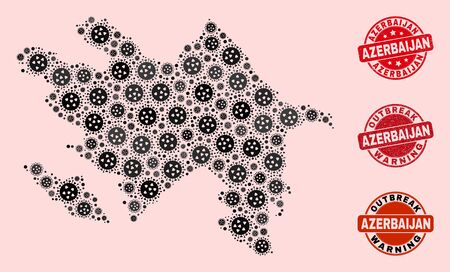 Outbreak collage of virus mosaic Azerbaijan map and rubber stamps. Vector red watermarks with unclean rubber texture and Outbreak Warning caption. Mosaic Azerbaijan map designed with flu virus,