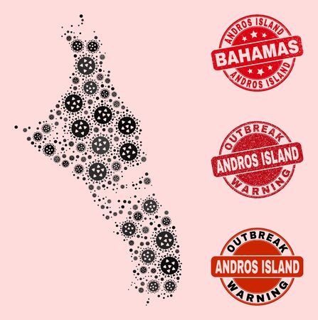 Outbreak collage of virus mosaic Andros Island of Bahamas map and grunge seals. Vector red imprints with grunge rubber texture and Outbreak Warning caption.