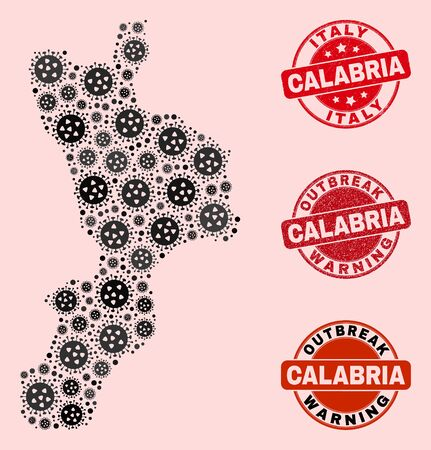 Outbreak collage of virus mosaic Calabria region map and scratched seals. Vector red seals with scratched rubber texture and Outbreak Warning caption.
