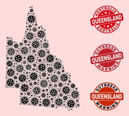 Outbreak collage of covid-2019 mosaic Australian Queensland map and rubber seal stamps. Vector red watermarks with corroded rubber texture and Outbreak Warning caption. Banque d'images - 146444983
