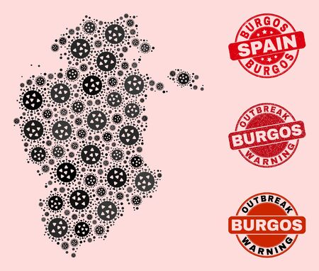 Outbreak collage of covid-2019 mosaic Burgos Province map and grunge stamps. Vector red imprints with grunge rubber texture and Outbreak Warning caption. Banque d'images - 146444991