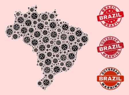 Outbreak composition of virus mosaic Brazil map and rubber stamps. Vector red watermarks with scratched rubber texture and Outbreak Warning caption. Mosaic Brazil map designed with SARS virus,