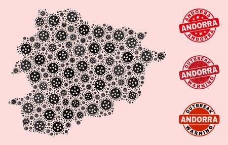 Outbreak collage of flu viral mosaic Andorra map and rubber seals. Vector red watermarks with distress rubber texture and Outbreak Warning caption. Mosaic Andorra map constructed with flu virus,
