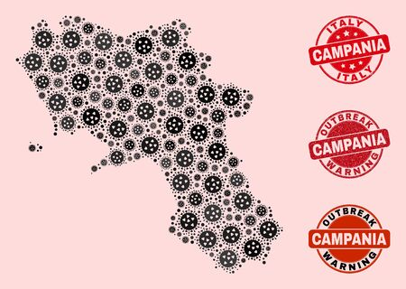 Outbreak collage of virus mosaic Campania region map and unclean seals. Vector red seals with scratched rubber texture and Outbreak Warning caption.