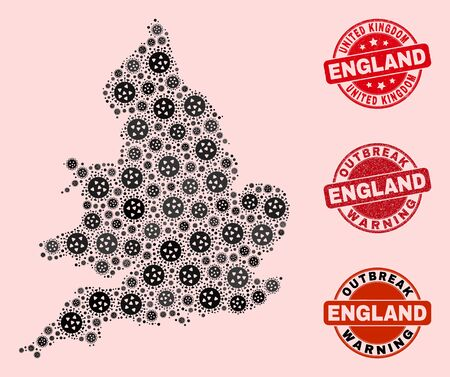 Outbreak collage of pandemic mosaic England map and rubber stamps. Vector red imprints with unclean rubber texture and Outbreak Warning caption. Mosaic England map designed with flu virus,