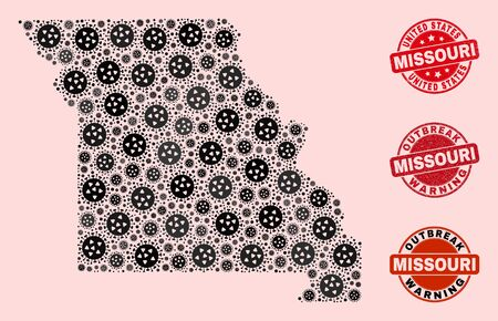 Outbreak combination of flu viral mosaic Missouri State map and rubber seals. Vector red seals with grunge rubber texture and Outbreak Warning caption.