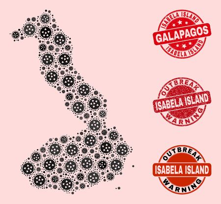 Outbreak collage of virus mosaic Isabela Island of Galapagos map and rubber stamps. Vector red seals with distress rubber texture and Outbreak Warning caption.