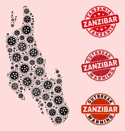 Outbreak collage of covid-2019 mosaic Zanzibar Island map and rubber seal stamps. Vector red watermarks with scratched rubber texture and Outbreak Warning caption.