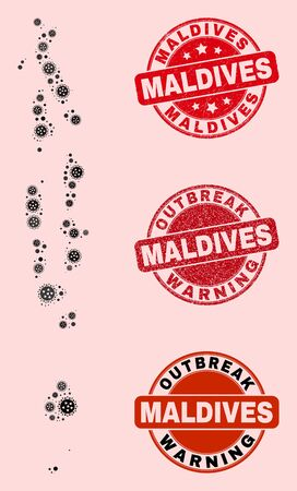 Outbreak combination of flu viral mosaic Maldives map and rubber seal stamps. Vector red seals with corroded rubber texture and Outbreak Warning caption. Mosaic Maldives map designed with flu virus,