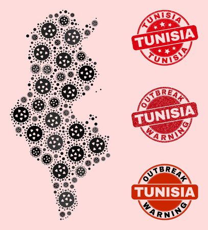 Outbreak combination of flu viral mosaic Tunisia map and scratched stamps. Vector red seals with distress rubber texture and Outbreak Warning caption. Mosaic Tunisia map constructed with SARS virus, Illustration