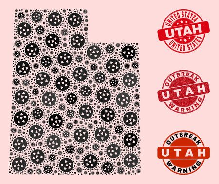 Outbreak collage of flu viral mosaic Utah State map and corroded seals. Vector red seals with corroded rubber texture and Outbreak Warning caption. Mosaic Utah State map designed with coronavirus,