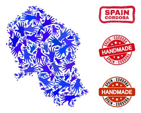 Vector handmade composition of Cordoba Spanish Province map and grunge stamp seals. Mosaic Cordoba Spanish Province map is formed with random blue hands. Illustration