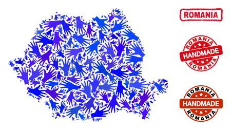 Vector handmade composition of Romania map and grunge watermarks. Mosaic Romania map is designed with scattered blue hands. Rounded and wry red stamp imprints with grunge rubber texture.